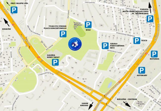 Mapka dojazdowa do placu koncertowego wraz z zaznaczonymi parkingami.